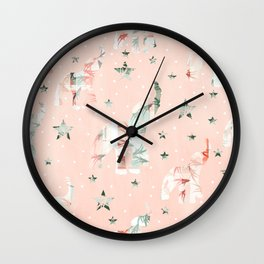 Pastel Tone Elephants Stars Pattern Wall Clock
