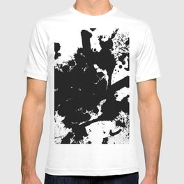 Black and white splat - Abstract, black paint splatter painting T-shirt