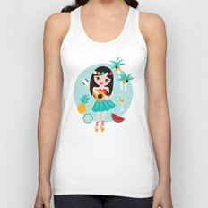 Hawaii summer hula girl Unisex Tank Top