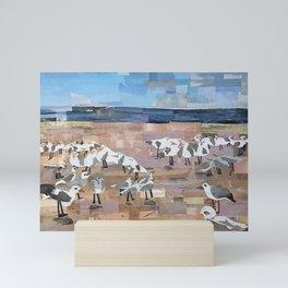 Gulls on The Beach in Cut Paper by Willowcatdesigns Mini Art Print