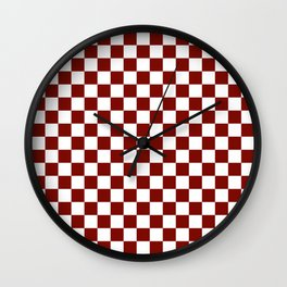 Vintage New England Shaker Barn Red and White Milk Paint Jumbo Square Checker Pattern Wall Clock