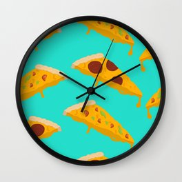 Feed Me- pizza pattern Wall Clock