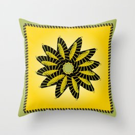 Yellow Stitched Flower Throw Pillow