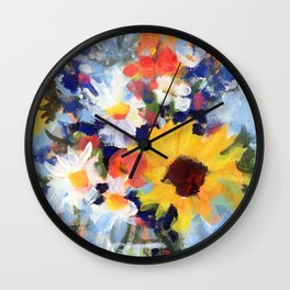 Sunny Day Bouquet Wall Clock