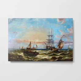 Evening Off Portsmouth seacape nautical sailing schooner painting by John Callow Metal Print