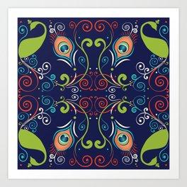 Peacock Nouveau Art Print