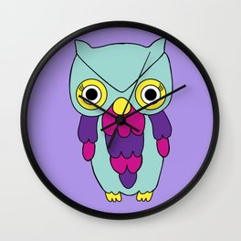 Psychedelic Woodland Turquoise Owl Wall Clock