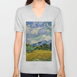 Classical Masterpiece 'Wheat Field with Cypresses' by Vincent van Gogh Unisex V-Neck