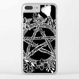 Pentacle Wreath Witchy Pagan Goth Clear iPhone Case