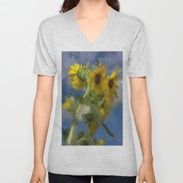 An Impression Of Sunflowers In The Sun Unisex V-Neck