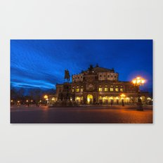 Germany-Dresden Semper Opera blue hour Canvas Print