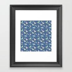 Unicorns and Rainbows - blue -tiny Framed Art Print