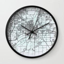 Joliet, IL, USA, White, City, Map Wall Clock