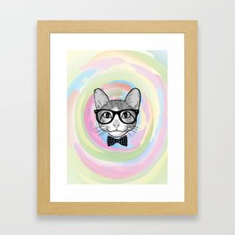 Black White Cat Hipster and the Watercolor Rainbow Circle Framed Art Print