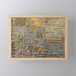 Avondale Brown Stone Wall and Mortar Texture Photography Framed Mini Art Print