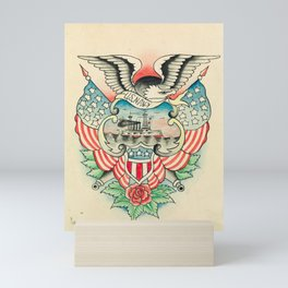 Vintage Navy Tattoo Design Mini Art Print
