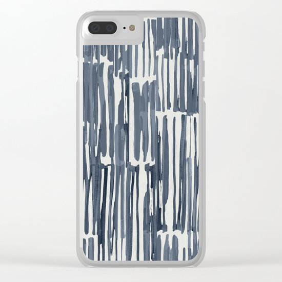 Simply Bamboo Brushstroke Indigo Blue on Lunar Gray Clear iPhone Case