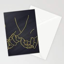 Friendship and love hands concept continuous line drawing Stationery Cards