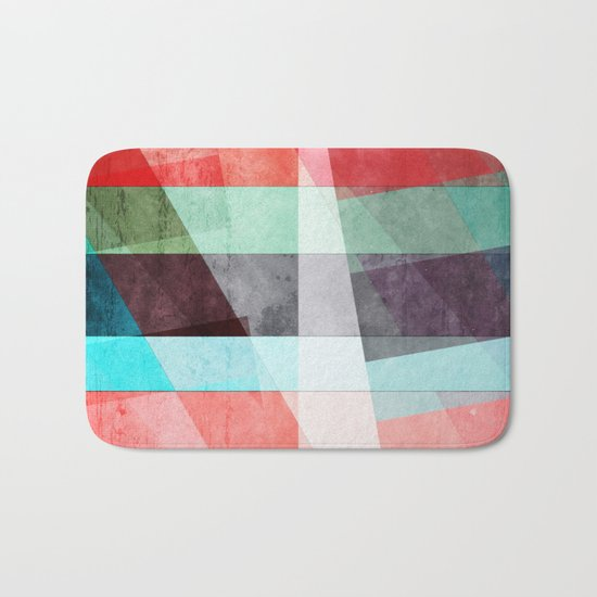 Colorful Grunge Stripes Abstract Bath Mat