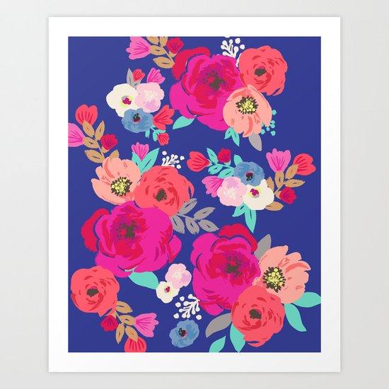 Sweet Pea Floral Blue Art Print