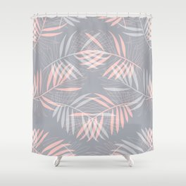 Palm leaves lace pattern on grey Shower Curtain