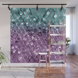 Mermaid Scales on Aqua Purple MERMAID Girls Glitter #2 #shiny #decor #art #society6 Wall Mural
