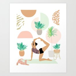 Mid Modern Yoga Girl Power with Plants Art Print