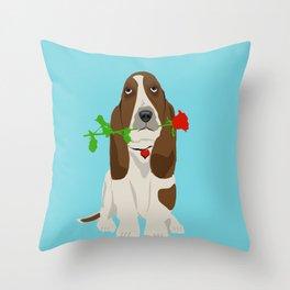 Basset Hound Dog in Love Throw Pillow