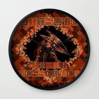kitsune Wall Clocks featuring Kitsune by Carlo Spaziani