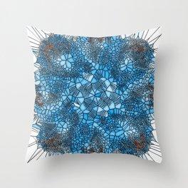 Spiral blue stain glass Throw Pillow