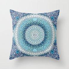 Teal Tapestry Mandala Throw Pillow