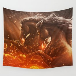 Fire with Horses Wall Tapestry