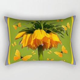 DECORATIVE GREEN & YELLOW CROWN IMPERIAL BUTTERFLIES Rectangular Pillow