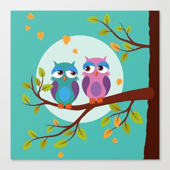 Sleepy owls in love Canvas Print