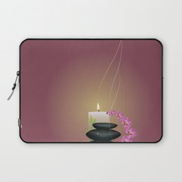 Pebbles with orchid Laptop Sleeve