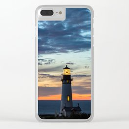 Sunset at Yaquina Head Lighthouse Clear iPhone Case