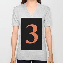 3 (CORAL & BLACK NUMBERS) Unisex V-Neck