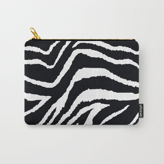 ZEBRA ANIMAL PRINT BLACK AND WHITE PATTERN Carry-All Pouch