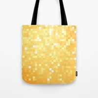 pixel Tote Bags featuring Golden pixeLs by 2sweet4words Designs