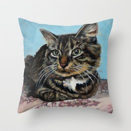 Siberian Cat sitting on Pink Floral Blanket Throw Pillow