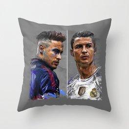 neymar jr and cristiano ronaldo Throw Pillow