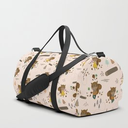 Mr and Mrs Squirrel Apricot Background Duffle Bag