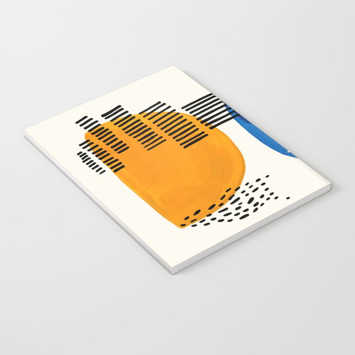 Fun Colorful Abstract Mid Century Minimalist Yellow Navy Blue Whiscial Patterns Organic Shapes Notebook
