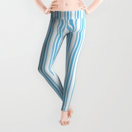 Trendy Large Blue Sky Pastel Blue French Mattress Ticking Double Stripes Leggings