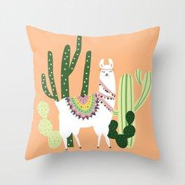 Cute Llama with Cactus Throw Pillow