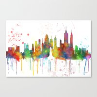 new york skyline Canvas Prints featuring New York, New York Skyline by Marlene Watson