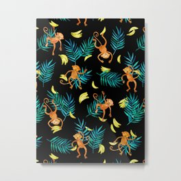 Tropical Monkey Banana Bonanza on Black Metal Print