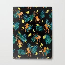 Tropical Monkey Banana Bonanza on Black Metal Print