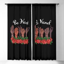 Melanin ASL Teacher Sign Language Be Kind Hand Deaf Person Blackout Curtain