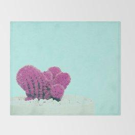 Vintage Pink Cactus on Blue Throw Blanket